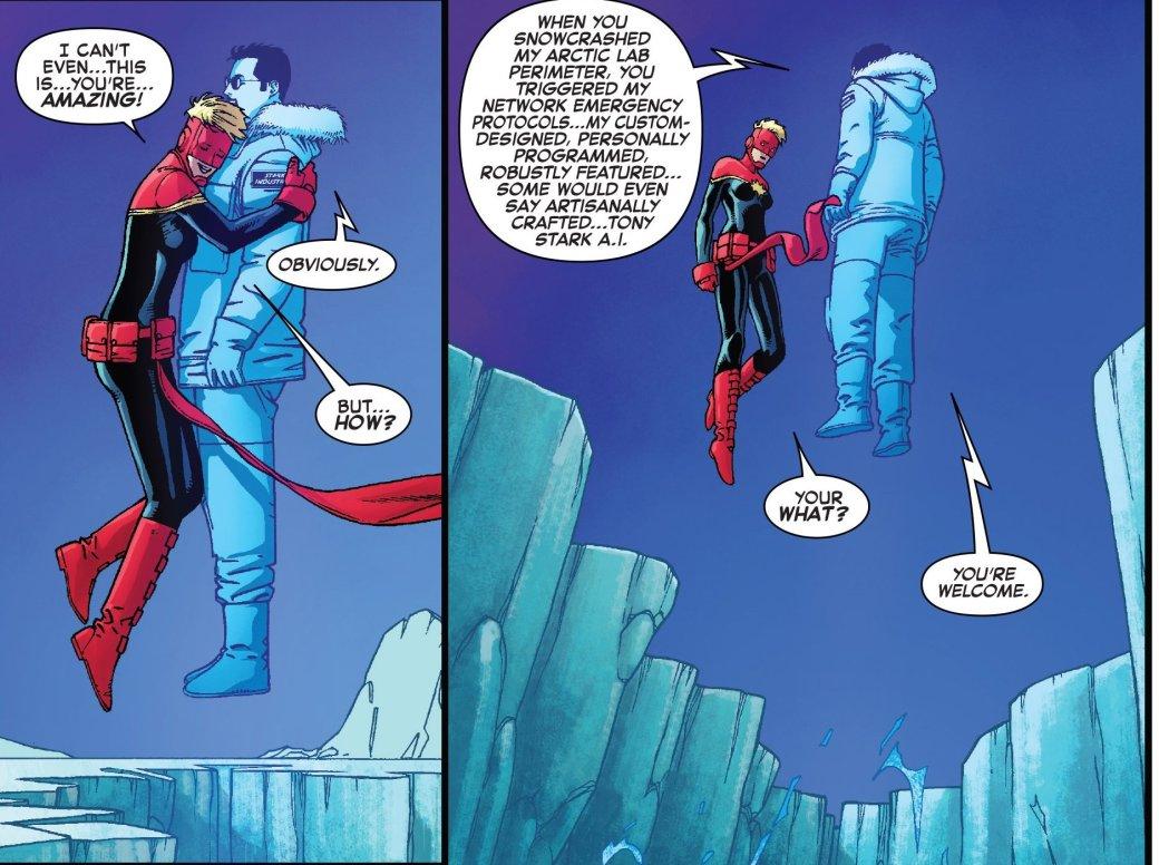 Капитан Марвел встретилась с искусственным Тони Старком. - Изображение 2