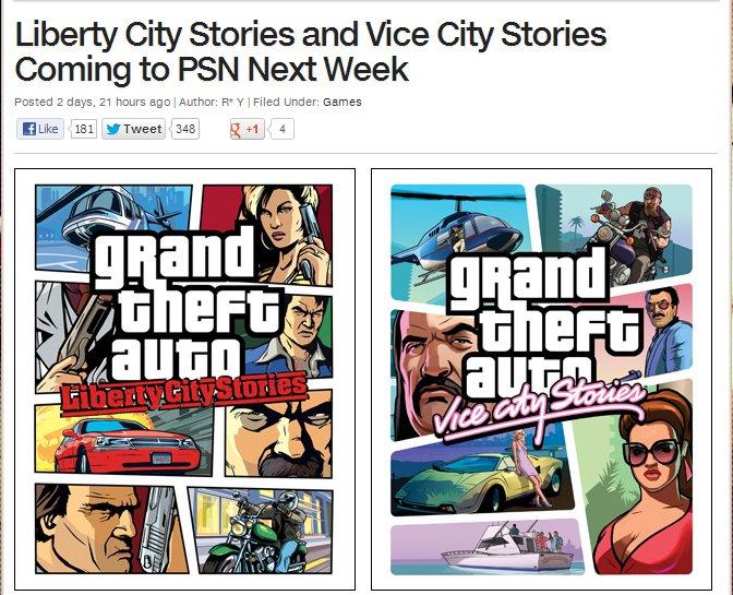 Vice City и Liberty City Stories выйдут в PSN на следующей неделе - Изображение 1
