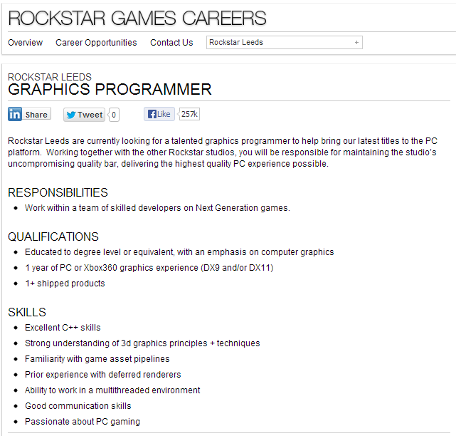 Rockstar ищут графического программиста - Изображение 1