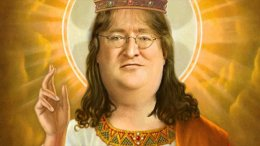 Вофисе Valve есть большое изображение мема про святого Габена, дарующего скидки